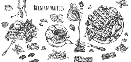 Vector illustration of belgian cuisine set. Sweet waffles with whipped cream, nuts and strawberries, raspberries, cup of hot chocolate and coffee. Vintage hand drawn style. Banque d'images - 122133681