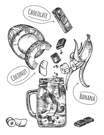 Vector illustration of healthy fruit drink set. Smoothie with levitating ingredients such as banana, strawberry, yoghurt and modern glass jar mug with handle. Vintage hand drawn style. Illustration