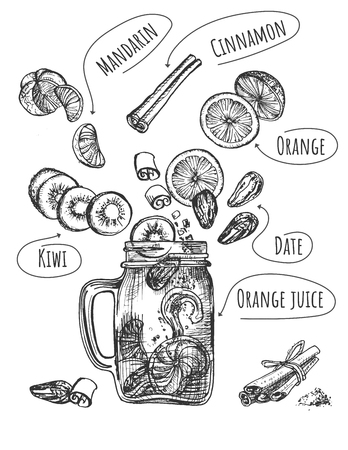 Vector illustration of healthy fruit drink set. Smoothie with levitating ingredients such as kiwi, mandarin, cinnamon, orange, date, juice and glass jar mug with handle. Vintage hand drawn style.