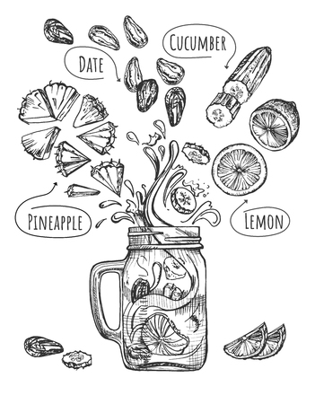 Vector illustration of healthy fruit drink set. Smoothie with levitating ingredients such as pineapple, date, cucumber, lemon and modern glass jar mug with handle. Vintage hand drawn style. Illustration