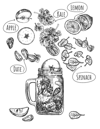 Vector illustration of healthy fruit drink set. Green smoothie with levitating ingredients such as date, apple, kale, lemon, spinach and modern glass jar mug with handle. Vintage hand drawn style.