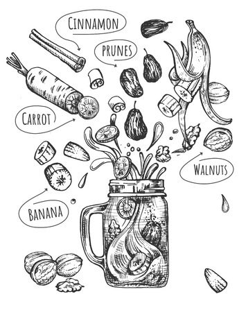 Vector illustration of healthy fruit drink set. Smoothie with levitating ingredients such as banana, carrot, cinnamon, prunes, walnuts and modern glass jar mug with handle. Vintage hand drawn style. Illustration