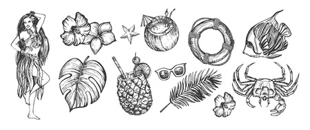Vector illustration of havaian tropical summer set. Pineapple and coconut cocktails, safety buoy, crab and fish, girl and sunglasses, exotic flowers and palm leaves. Vintage hand drawn style. Иллюстрация