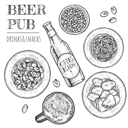 Vector illustration of pub food and drinks set. Potato chips, mug and bottle with beer, pistachios, peanut, calamari rings and lettering .Vintage hand drawn style Иллюстрация