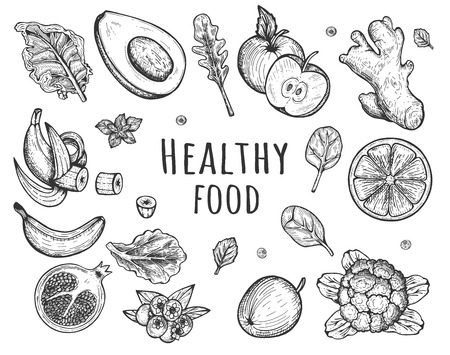 Vector illustration of healthy food set. Avocado, grapefruit, apple, spinach and salad leaves, broccoli, ginger, pomegranate, blueberries, banana. Vintage hand drawn style Ilustrace