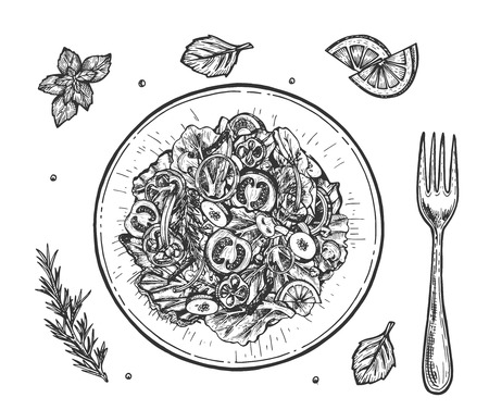 Vector illustration of healthy vegan lunch set. Top view of salad bowl with cut onion, pepper, cucumber, tomato, mushrooms, lettuce, spice leaves, lemon slices and fork. Vintage hand drawn style.