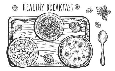Vector illustration of healthy rustic breakfast set. Composition of three bows with yoghurt, cereal, berries, spoon, cutting board decorated with leaves and lettering. Vintage hand drawn style.