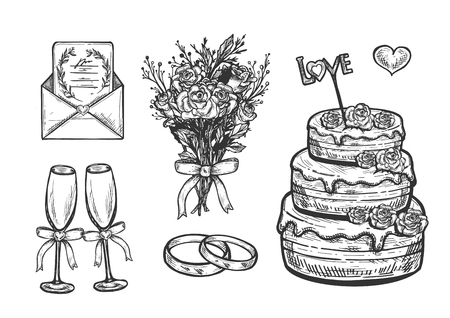 Vector illustration of bridal ceremony accessories set. Wedding objects composition with flower bouquet, rings, adorn champaign glasses, cake with love stick, invitation in envelope. Vintage hand drawn style.