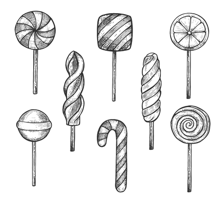 Vector illustration of sweet treats set. Round, squarish, fruit and striped caramel candies and lollipops on sticks, candy cane, marshmallow spiral. Vintage hand drawn style. Illustration