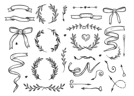 Vector illustration of romantic floral sketchy hand drawn elements set. Herbs and flowers, wreaths, hearts, ribbons, arrows. Vintage hand drawn style.