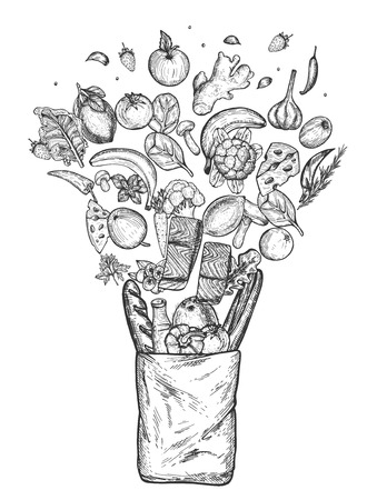 Vector illustration of floating healthy groceries composition set. Cheese, milk, bread, fish, fresh fruits, berries, mushrooms, herbs and vegetables in eco paper bag. Vintage hand drawn style. Banque d'images - 122894148