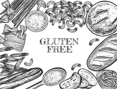 Illustrazione vettoriale di set di alimenti di grano sano. Banner con pane e pasta ipoallergenici senza glutine intorno alla scritta promozionale. Stile vintage disegnato a mano.