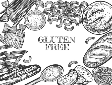 Vector illustration of healthy grain food set. Banner with hypoallergenic gluten free bread and pasta around promotion lettering. Vintage hand drawn style.
