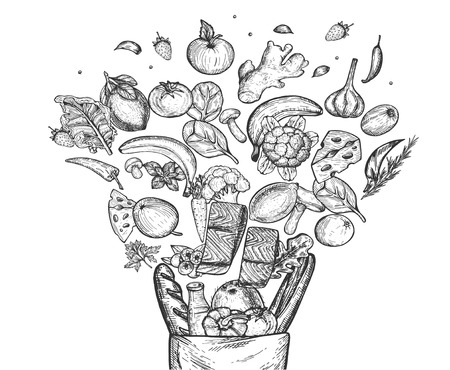 Vector illustration of floating healthy groceries composition set. Cheese, milk, bread, fish, fresh fruits, berries, mushrooms, herbs and vegetables in eco paper bag. Vintage hand drawn style.