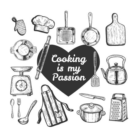 Ilustración de vector de amor juego de cocina. Objetos de cocina herramientas y utensilios como sartén, tabla, tetera, sartén, pesas, cuchillo, delantal, sombrero, rallador, rodillo, texto en el corazón. Estilo vintage dibujado a mano. Ilustración de vector