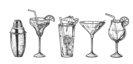 Vector illustration of tropical bar set. Sketch of exotic cocktails and alcohol drinks in glasses different shapes with fruit, umbrellas, straws, olives, ice and shaker. Vintage hand drawn style. 向量圖像