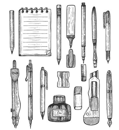 Vector illustration of sketchy stationery set. Ball and fountain pens, liner, highlighter, marker, pencils, sharpener, knife, eraser, compass, brush, wirebound notebook. Vintage hand drawn style. Illustration