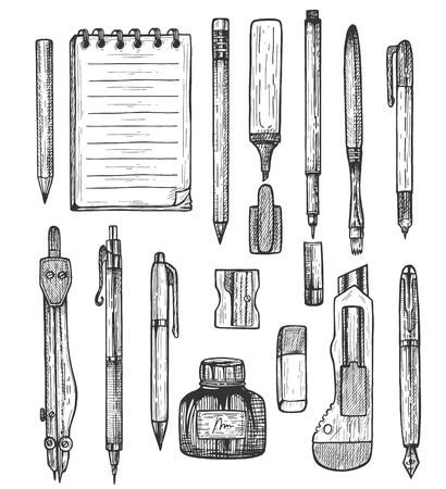 Vector illustration of sketchy stationery set. Ball and fountain pens, liner, highlighter, marker, pencils, sharpener, knife, eraser, compass, brush, wirebound notebook. Vintage hand drawn style. Illusztráció