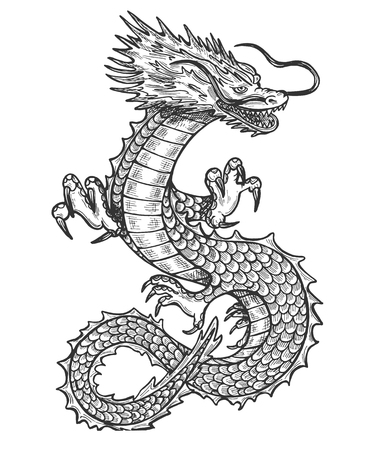 Vector illustration of chinese rithual symbol dragon set. Medieval winged monster, knight hunter, symbol of wisdom and force, spirit, tribal tattoo. Vintage hand drawn style. Çizim