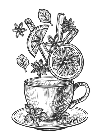 Vector illustration of tea cup set. Cup on saucer with hot drink and levitating herbs ingredients such as leaves, clove, citrus, orange slice, cinnamon, anise. Vintage hand drawn style. Иллюстрация