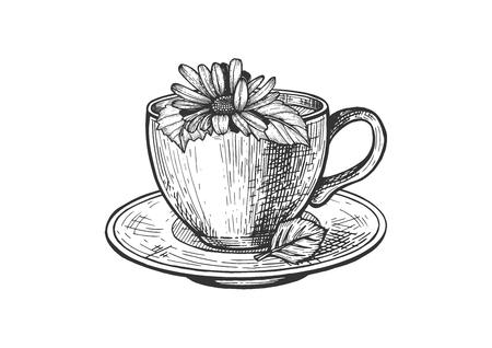 Ilustración de vector de bebida caliente por la mañana. Taza de té y plato con gran manzanilla en la composición superior. Estilo vintage dibujado a mano.