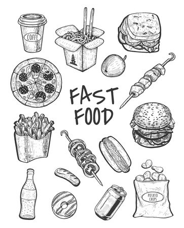 Vector illustration of fast food set. Drink in can bottle, coffee, potato chips, fries, sandwich, shish kebab, burger, grilled vegetables, donut, hot dog, chinese, pizza. Vintage hand drawn style.