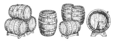 Illustrazione vettoriale di botte di legno o set di botti. Vista anteriore, superiore e di tre quarti del serbatoio di stoccaggio della birra e del vino su supporto con rubinetto impilato. Stile vintage disegnato a mano. Vettoriali