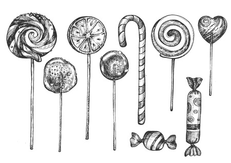 Vector illustration of sweet candies on sticks set. Different lollipops desserts types like swirly, dumdum, sugar, fruit, heart candy shop assortment, child treat. Vintage hand drawn style. Иллюстрация