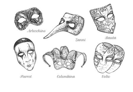 Ilustración de vector de conjunto de máscaras de carnaval veneciano. Diferentes tipos de mascarilla facial decorada Arlecchino, Colombina, Zanni, Pierrot, Volto, Bauta. Estilo vintage dibujado a mano.
