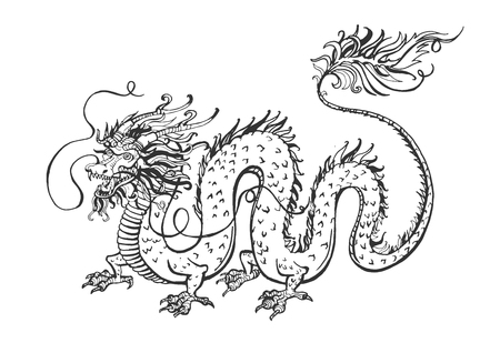 Vector illustration of chinese rithual symbol dragon. Medieval winged monster, knight hunter, symbol of wisdom and force, spirit, tribal tattoo. Vintage hand drawn style.