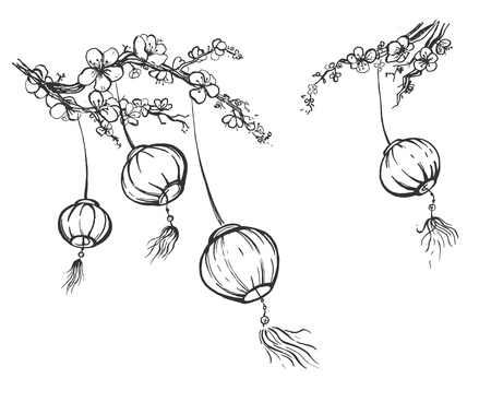 Vector illustration of chinese festival sky lanterns set. Hanging on blossoming sakura tree branches paper lantern Kongming fairy lights swaying on wind bring luck and peace. Vintage hand drawn style.