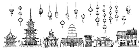 Vector illustration of Chinese pagodas houses street set. Asian town decorated with Kongming sky lanterns, Happy Chinese New Year or Asian Spring Festival holiday. Vintage hand drawn style.