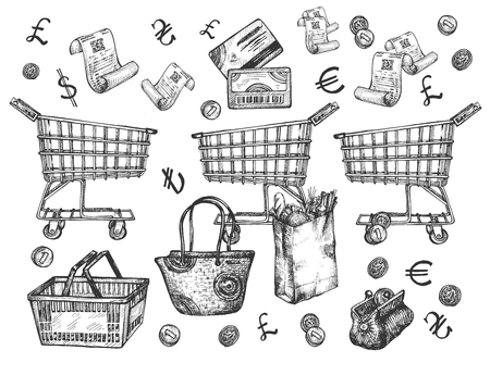 Vector illustration of a supermarket shopping groceries objects set. Economy wallet with falling in coins, paper bag with bakery bread loaf, discount loyalty card, purchase check, basket, trolley, bag Иллюстрация