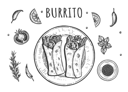 Vector illustration of classic mexican roll set. Top view on two burito served on the plate with salsa sauce, cpices and vegetables on the side. Vintage hand drawn style. Ilustração