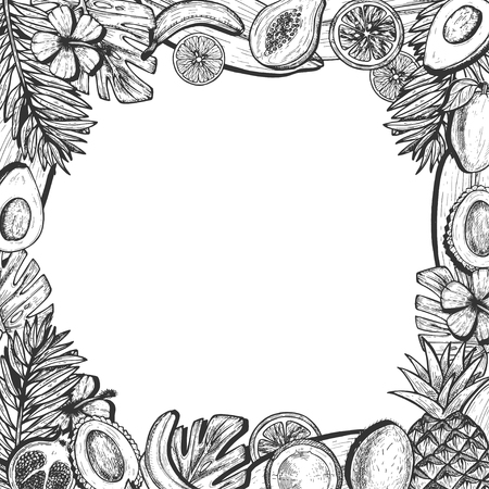 Fruits set in frame with empty space Ilustrace