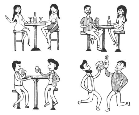 Vector illustration of social life set. People having fun and drinking beer at the bar doodle. Man and woman, guys and girls, friends company. Vintage hand drawn style.  イラスト・ベクター素材