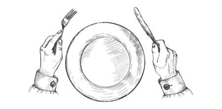 Vector illustration of fork and knife. Male hands over the empty food plate in restaurant. Vintage hand drawn style.