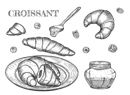 Vector illustration of croissant still life. French pastry or bakery dessert on the plate, on white, levitating, halve, spoon with jam. Vintage hand drawn style.