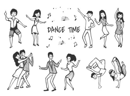 Vector illustration of dancing people men and women set. Disco, club dancing, classic tango couple, swing, blues, breakdance. Vintage hand drawn style.