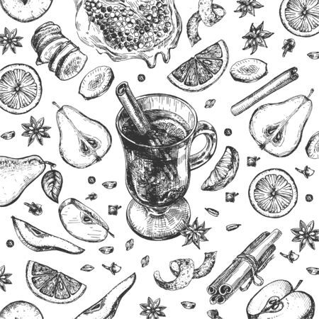 Vector illustration of mulled wine set. Glass cup, cinnamon stick, orange slice. Citrus fruits, herbs, spices. Clove, anise star, ginger, pear, apple sliced, honey honeycombs. Vintage hand drawn style Ilustracja