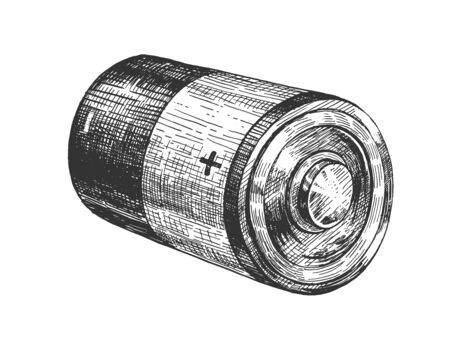 Vector illustration of alkaline battery with different polarity. Cylindrical shape electrical power accumulator with plus and minus charge pole. Vintage hand drawn style.