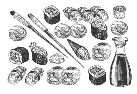 Vector illustration of sushi and rolls Japanese oriental food set icons. Variety of Maki, Gunkanmaki, uramaki, nigiri, temaki, temari. Soy sauce bottle, chopsticks, wasabi. Vintage hand drawn style