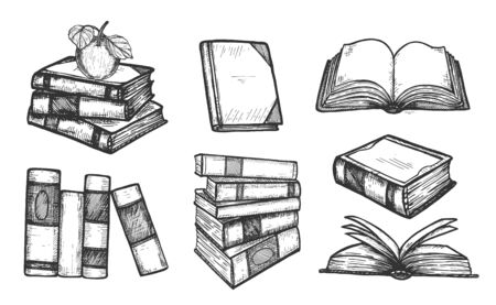 Vector illustration of books icons set. Stuck, stacked, apple, closed, open, front side and three quarters. Vintage hand drawn style. Illustration