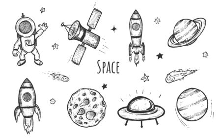 Vector illustration of space icons set. Astronaut, rocket module, spaceship, satellite, meteorite, planet, aliens, shooting star. Vintage hand drawn style.  イラスト・ベクター素材