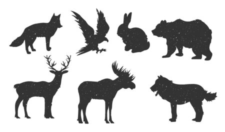 Vector illustration of wild forest animals set. Deer, elk, fox, wolf, bear, hare, eagle. Vintage hand drawn style.