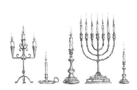 Vector illustration of antique сandles and candleholders set. Menorah, single, lamp, triple. Collection for interior decoration. Vintage hand drawn style.  イラスト・ベクター素材