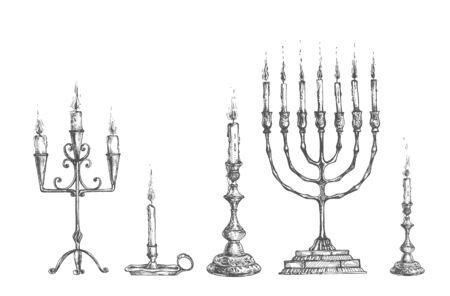 Vektor-Illustration von antiken Ñ Andles und Kerzenhalter-Set. Menorah, Einzel, Lampe, Dreifach. Sammlung für Innendekoration. Vintage handgezeichnete Stil.