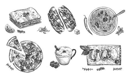 Cocina italiana deliciosa comida de restaurante casero. Pizza, pasta, bruschetta, caprese, taza de café capuchino. Estilo de grabado grabado dibujado a mano de la vendimia.