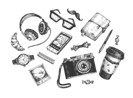 Vintage hipster objects set. Headphones, croissant, heavy frame glasses, moustaches, sketchbook notebook and pen, bow tie, photo, film camera,  watch, comb, smartphone phone, coffee in paper cup. Standard-Bild - 129158477