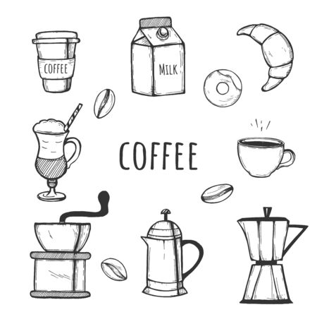 Vector illustration of coffee icons set. Milk, coffee maker, coffee hand mill, French press, moka pot, croissant, donut, milk, espresso, latte, in paper cup. Vintage hand drawn style.